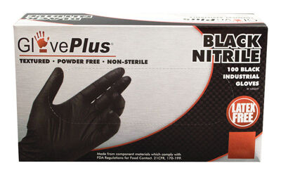 Gloveplus Nitrile Gloves Large 100 pk Black