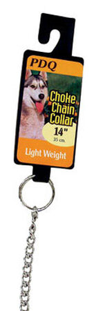 PDQ Chrome Steel Choke Chain Dog Collar 14 in. 2 mm W