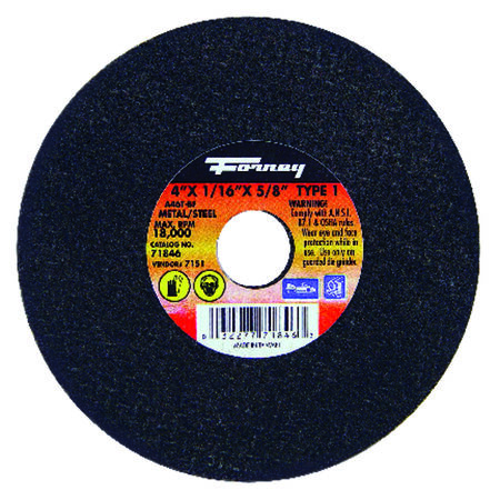 Forney 4 in. Dia. x 1/16 in. thick x 5/8 in. Metal Cut-Off Wheel