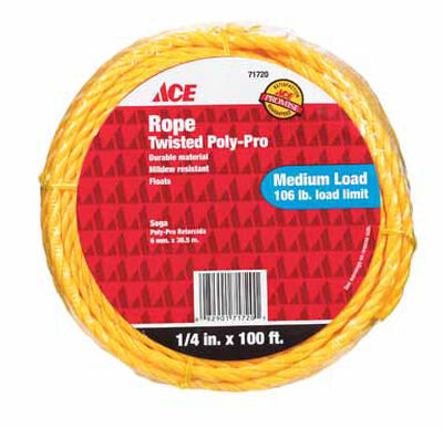 Ace 1/4 in. Dia. x 100 ft. L Twisted Poly Rope Yellow