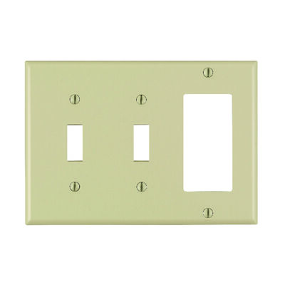 Leviton 3 gang Ivory Plastic Toggle and Rocker/GFCI Wall Plate 1 pk