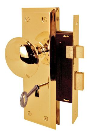 Prime-Line Brass Mortise Lockset 1-3/4 in. Right Handed