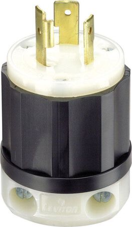 Leviton Industrial Nylon Grounding Locking Plug L5-20P 16-10 AWG 2 Pole 3 Wire Black/White
