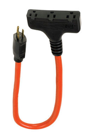 Ace Indoor and Outdoor Triple Outlet Cord 12/3 STW 2 ft. L Orange