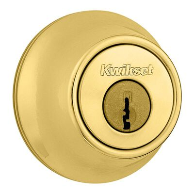 Kwikset Polished Brass Single Cylinder Deadbolt 1-3/4 in. For All Home Doors 0 1 2 3 4 5 6 7