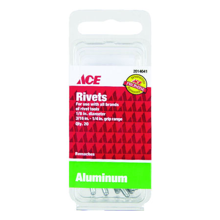 Ace 1/8 in. Dia. x 1/4 in. Aluminum Rivets 20 pk