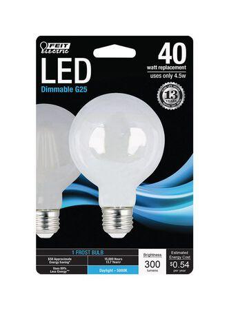 FEIT Electric LED Bulb 4.5 watts 300 lumens 5000 K Globe G25 Daylight 40 watts equivalency