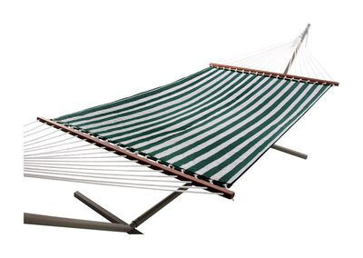 Castaway Quilted Hammock 55 in. W x 157 in. L Fabric Green