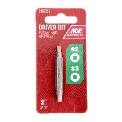 Ace #2/#3 in. Square Screwdriver Bit 1/4 in. Dia. x 2.5 in. L 1 pc.