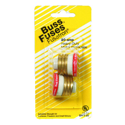Bussmann Time Delay Plug Fuse 20 amps 125 volts 1.16 in. Dia. 2 pk For Small Motor Overload Protec