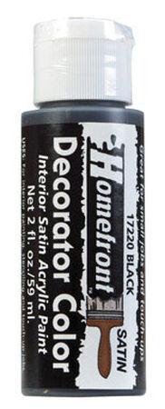 Homefront Decorator Color Black Acrylic Latex Paint 2 oz. Satin