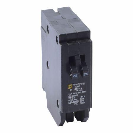 Square D HomeLine Tandem/Single Pole 20/20 amps Circuit Breaker