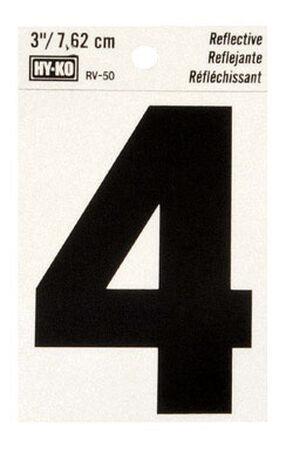 Hy-Ko Self-Adhesive Black Reflective Vinyl Number 4 3 in.