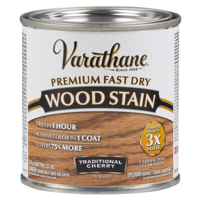 Varathane Premium Fast Dry Semi-Transparent Oil-Based Wood Stain Traditional Cherry .5 pt.