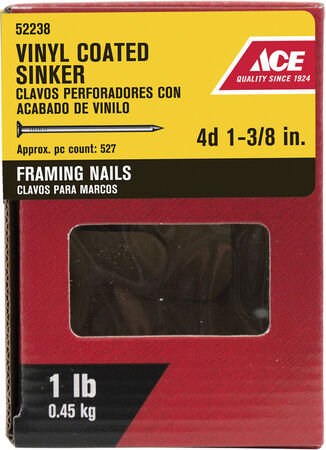 Ace Checkered 1-3/8 in. L Sinker Nail Smooth Vinyl Steel 1 lb.