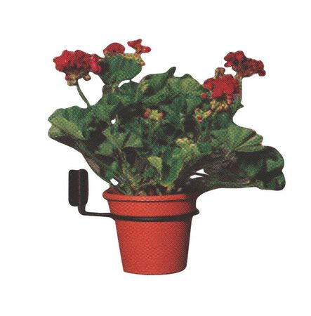 Panacea Black Wrought Iron Round Wall Flower Pot Holder 3 in. H x 8-10 in. W