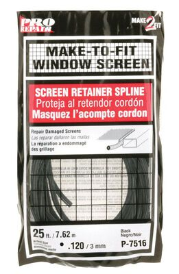 Prime-Line Aluminum and Fiberglass Screening Screen Spline 1/8 in. W x 25 ft. L Black Vinyl