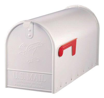 Solar Group Gibraltar Elite Galvanized Steel Post Mounted Mailbox White 10-1/2 in. H x 22-1/4