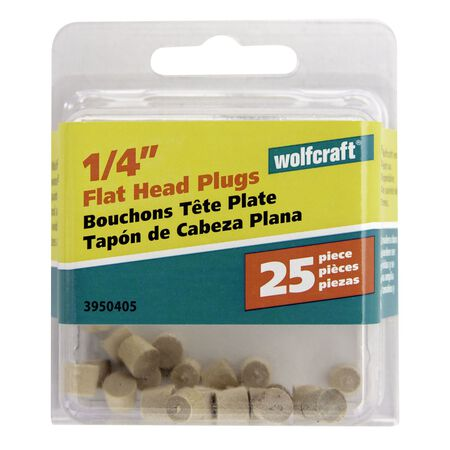 Wolfcraft Flat Hardwood Head Plug 1/4 in. Dia.