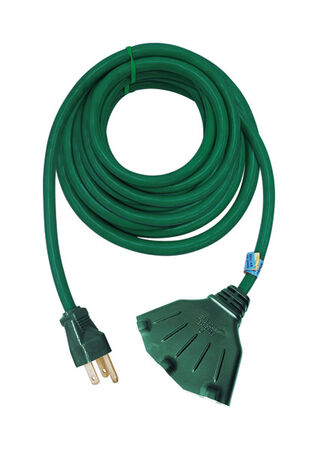 Ace Indoor and Outdoor Triple Outlet Cord 16/3 SJTW 50 ft. L Green