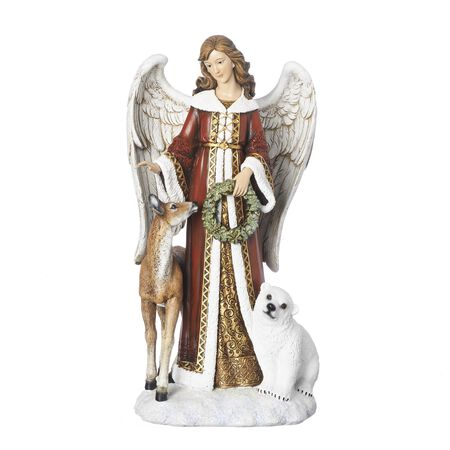Roman Angel Figure with Deer And Bear Christmas Decoration Red/White Resin 16 in. 1 pk