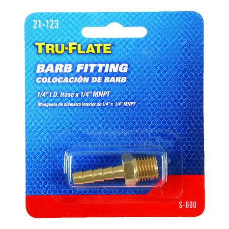 Tru-Flate Brass Barb Fitting 1/4 in. ID Hose x 1/4 in. MNPT in. Male