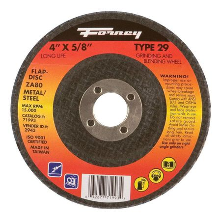 Forney 4 in. Dia. x 5/8 in. Blue Zirconia Flap Disc 80 Grit