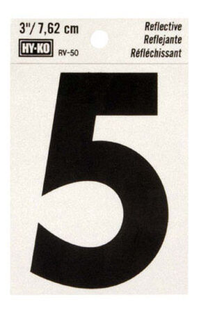 Hy-Ko Self-Adhesive Black Reflective Vinyl Number 5 3 in.