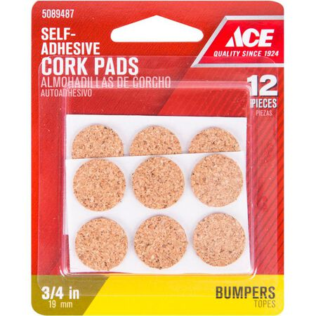 Ace Cork Round Bumper Pads Brown 3/4 in. W 12 pk