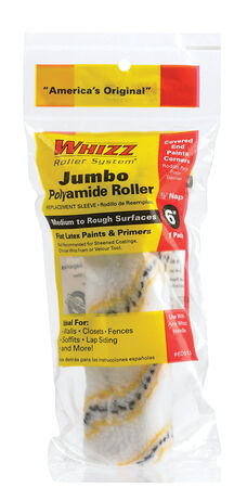 Whizz Polyamide Fabric Paint Roller Cover 1/2 in. L x 6 in. W