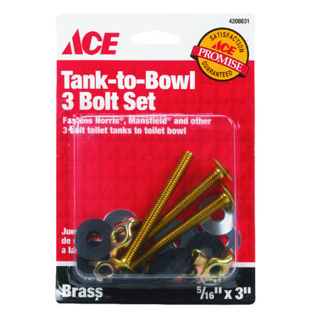 Ace Tank to Bowl Bolts 5/16 in. H x 3 in. L Brass