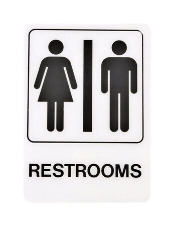 Hy-Ko English 7 in. H x 5 in. W Plastic Sign Restrooms