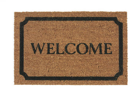 Decoir Tan/Black Coir Nonslip Doormat 30 in. L x 18 in. W