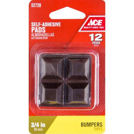 Ace Vinyl Square Bumper Pads Brown 3/4 in. W x 3/4 in. L 12 pk