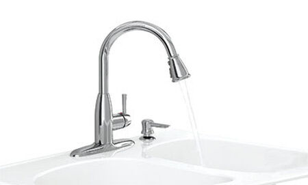 American Standard Mckenzie One Handle Polished Chrome Pull Out Kitchen Faucet Side Sprayer Incl