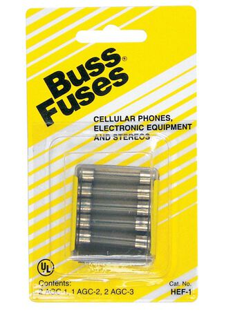 Bussmann Glass Tube Fuse Assorted amps 250 volts 1/4 in. Dia. x 1-1/4 in. L 5 pk For Communication