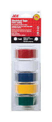 Ace 3/4 in. W x 12 ft. L Plastic Electrical Tape Multicolored