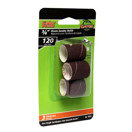 Gator Grit 0.8 in. Dia. x 0.3 in. Dia. 120 Grit Abrasive Sleeve Refill Aluminum Oxide