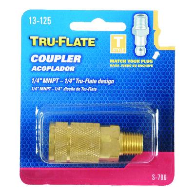 Tru-Flate Brass Quick Change Coupler 1/4 in. MNPT Male T